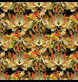 baroque style leafy 3d seamless pattern vector image