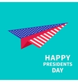 Big paper plane Presidents Day background Flat vector image vector image