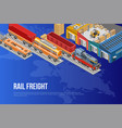 bright poster for railway freight delivery vector image vector image