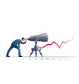 businessman with telescope explorating the future vector image