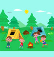 camping kids vector image vector image