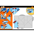 cartoon helicopter jigsaw puzzle game vector image vector image