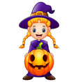 cartoon little witch holding a pumpkin vector image vector image