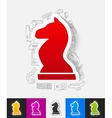 chess paper sticker with hand drawn elements vector image