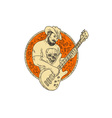 Cowboy Playing Bass Guitar Circle Drawing vector image vector image