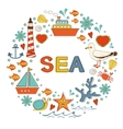 Cute colorful sea collection with various elements vector image