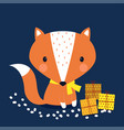 cute print scandinavian fox vector image