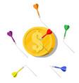 dart arrow in coin target vector image vector image