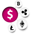 diagram with dollar and cryptocurrency symbols vector image