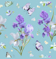 floral seamless pattern with iris flowers vector image