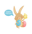 funny little bunny with easter eggs cute brown vector image