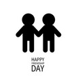 happy friendship day boys holding hands icon vector image vector image