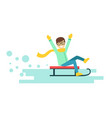 happy smiling boy riding a sledge winter activity vector image vector image
