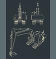 heavy excavator drawings vector image vector image