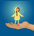 joyful girl in rain blue background happy vector image