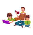 man woman boy reading books sitting and lying on vector image