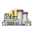 nuclear power plant sketch vector image vector image