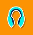 paper sticker technology gadget headphones vector image vector image