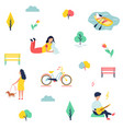 people at park resting and having fun vector image vector image