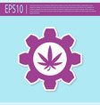 retro purple chemical test tube with marijuana or vector image vector image