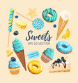 set of delicious fruit sweets and desserts vector image vector image