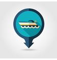 Ship Boat pin map flat icon Summer Vacation vector image vector image