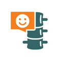 spine with happy face in chat bubble colored icon vector image vector image