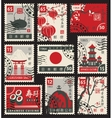 stamps on theme japan vector image vector image