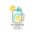 Summer menu logo badge for restaurant cafe and