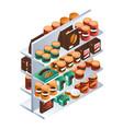 supermarket food shelf icon isometric style vector image