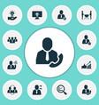 team icons set with leadership teamwork team vector image