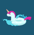 unicorn inflatable pool float on waves vector image vector image