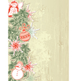 vintage christmas background with christmas tree vector image vector image