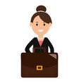 young businesswoman with portfolio vector image vector image