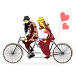 young man and woman with riding tandem bicycle vector image vector image