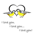 A couple of cute titmice with a heart vector image vector image