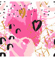 art seamless pattern with shabby hearts rough vector image