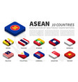 asean flag and membership and southeast asia map vector image vector image