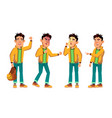 asian bad boy kid poses set high school vector image