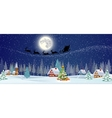 background with christmas tree and night village vector image vector image