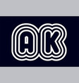 black and white alphabet letter combination ak a vector image