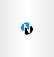 black blue n letter logotype symbol vector image vector image