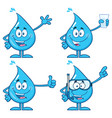 blue water drop characters collection - 1 vector image