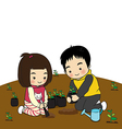 boy and girl planting trees vector image vector image