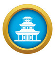 buddhist temple icon blue isolated vector image vector image