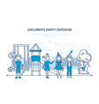 children party outdoor on the playground vector image vector image