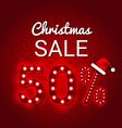 Christmas sale 50 Percent Discount retro sign vector image