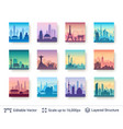 collection famous asian city scapes vector image vector image