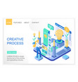 creative process isometric landing page vector image vector image
