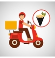 delivery boy ride motorcycle traditional japanese vector image